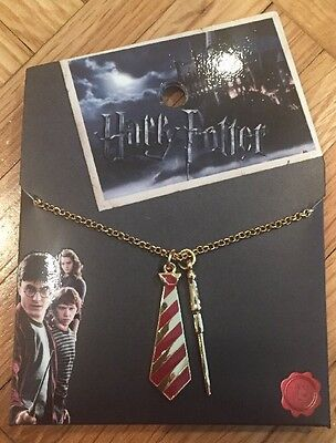 Harry Potter Gryffindor Tie & Wand Charm Necklace New With Tags!