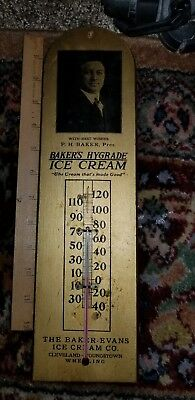Extremely RARE BAKER EVANS ICE CREAM CO HYGRADE WOODEN ADVERTISING THERMOMETER