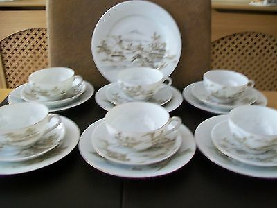 Six Japanese Eggshell Cups, Saucers & Side Plates - Scenery