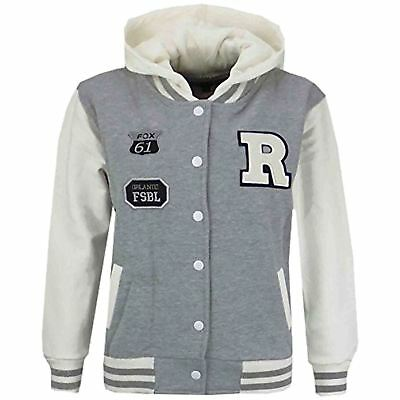 Kids Girls Boys Designer's R Fashion Baseball Grey Hooded Jackets Varsity Hoodie