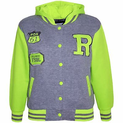 Kids Girls Boys R Fashion Baseball Grey Neon Green Hooded Jackets Varsity Hoodie