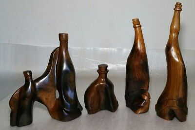 4x - Abstract Eames Style Wood Carved Bottles - Mid Century Modern Art Sculpture