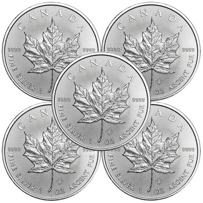 Lot of 5 - 2019 $5 Silver Canadian Maple Leaf 1 oz Brilliant Uncirculated