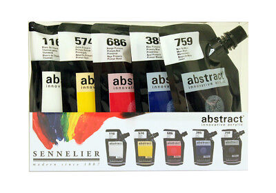 Sennelier Abstract Acrylic 120ml Intro Set of 6 colours + Free Nozzles Set