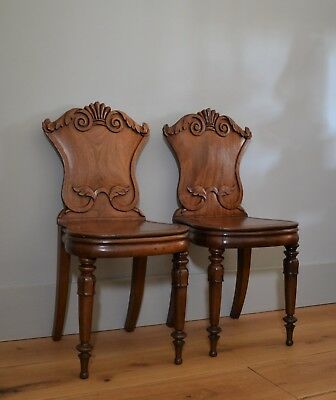A Pair of 19th Century William IV Mahogany Hall Side Table Bedroom Chairs