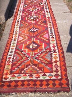 Vintage Indian Wool Runner Rug 10 1/2 Feet X 3 Feet  Large!!