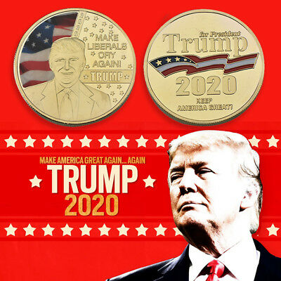 WR Make Liberals Cry Again Trump 2020 Gold Plated Coin Keep America Great Medal