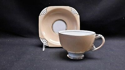 Paragon By Appointment Art Deco Orange Peach 1711 - Cup & Saucer (Chipped)