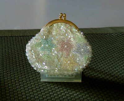 Delill Sequined Beaded Coin Change Purse Flowers