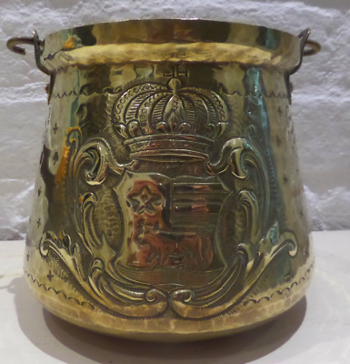 Arts And Crafts Rare 19Th Century  French Armorial Brass Couldron Jardiniere