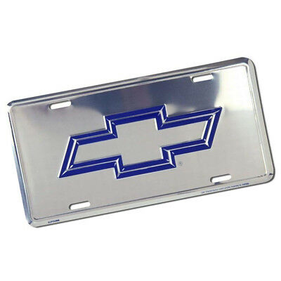 CHEVROLET Chevy Blue Bowtie Car Truck Chrome Metal License Plate Embossed Tag
