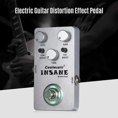 Mini Electric Guitar Distortion Effect Pedal True Bypass Full Metal Silver I5A2
