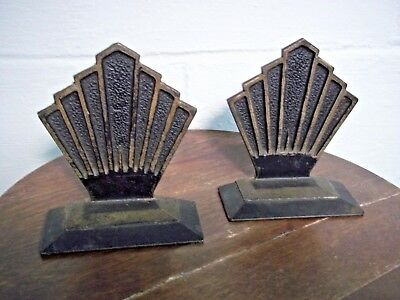 Vintage Hubley #589 Art Deco Cast Iron Metal Bookends Geometric Black and Gold