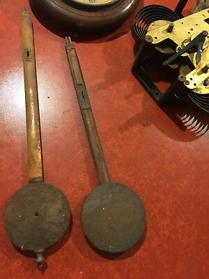 "2 Vintage Clock Pendulums - Spare Parts For Antique Clock Makers 21"" & 17.5"""