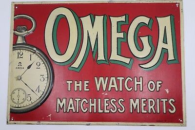 Antique Omega Watch Advertising Tin Sign