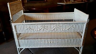 Antique Baby's Wicker Crib With Original Mattress.