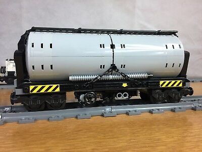Lego Custom Train Tanker Car Light Bluish Grey (Single (1) Car)