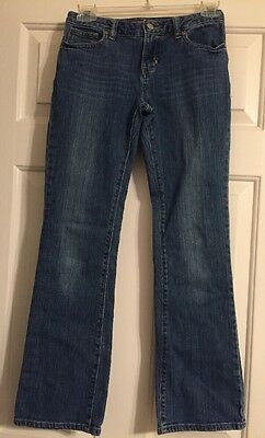 Old Navy Girls Size 12 Distressed Denim Blue Jeans Boot Cut