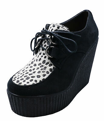Ladies Black Leopard Platform Creepers Lace-Up Wedge Brogues Loafers Shoes 3-8