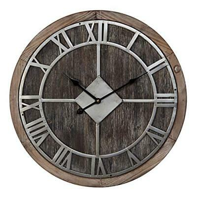 Hometime Wooden Round Wall Clock Roman Numerals Dial 50cm