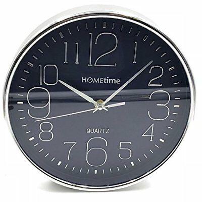 Hometime Deep Case Wall Clock Blue Arabic Dial 25cm