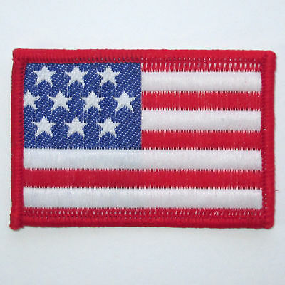 AMERICAN FLAG EMBROIDERED PATCH iron-on Red BORDER USA US United States