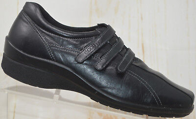 Ecco Women's Black Leather Strappy Mary Jane Loafers Shoes Flats Size 39 8.5 EUC