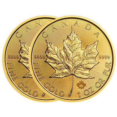 Lot of 2 - 2019 $50 Gold Canadian Maple Leaf .9999 1 oz Brilliant Uncirculated