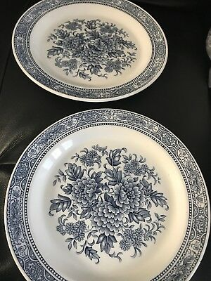 RIDGWAY CANTERBURY 4269 18 cms SIDE PLATES Blue & White Floral Design X 2
