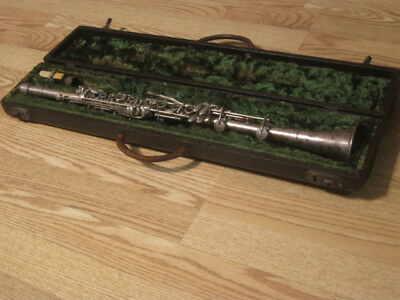 Unique Antique 1930's Andre Peron Silver Clarinet & Case