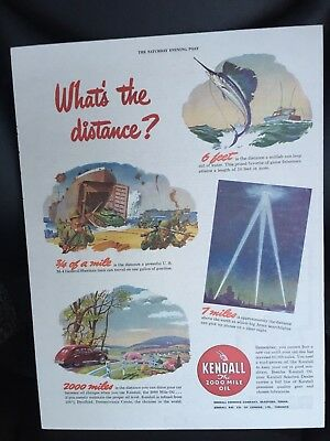 Vintage Kendall Motor Oil Ad from Saturday Evening Post . What's The Distance