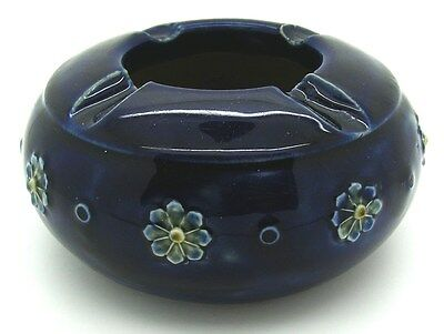 Royal Doulton - Art Nouveau Cobalt Blue Ashtray with Flowers Model 7624 - c1902