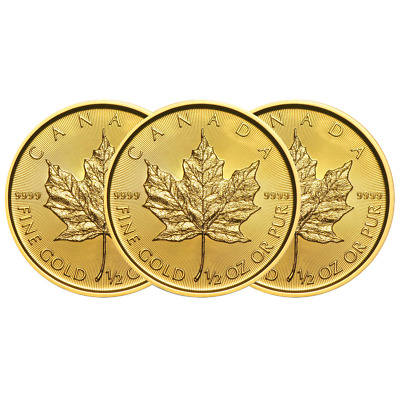 Lot of 3 - 2019 $20 Gold Canadian Maple Leaf .9999 1/2 oz Brilliant Uncirculated