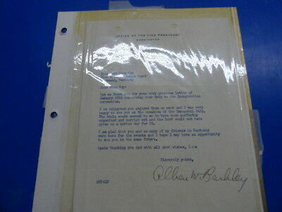 Vice President Alben Barkley letter with signature Kentucky