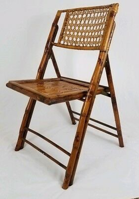 Mid-century tortoise bamboo rattan folding chair wicker Chippendale vintage