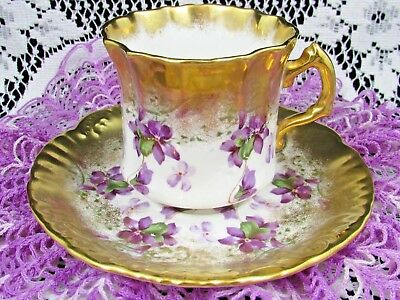 Hammersley Purple Violets Heavy Gold Gilt Embossed Tea Cup And Saucer