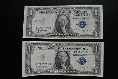 2 each - SERIES 1935A $1.00 BLUE SEAL SILVER CERTIFICATE SMALL SIZE NOTES