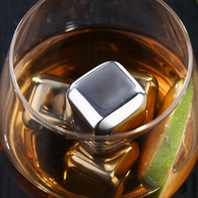 AU 1-5X Reusable Stainless Steel Ice Cubes Metal Scotch Whisky Wine Stone Hot