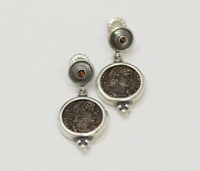 Sterling Silver Earrings, Ancient Coins, Roman Bronze, Garnets - w/Cert 069
