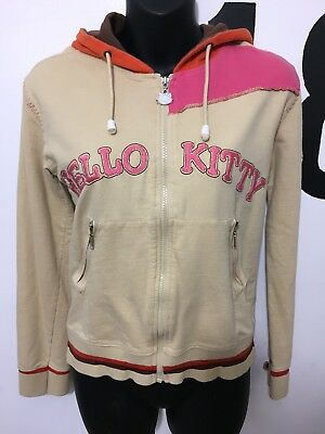 Girls Hello Kitty Tan Full Zip Hooded Jacket Coat Size Large