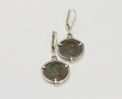 Sterling Silver Earrings with Ancient Coins, Roman Bronze - w/Cert 067