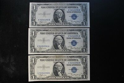 3 each - SERIES 1935A $1.00 BLUE SEAL SILVER CERTIFICATE SMALL SIZE NOTES