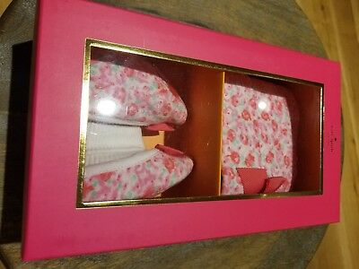 "New Kate Spade Infant Girl Cap and Bootie Set ""Ditzy Field""  o/s"