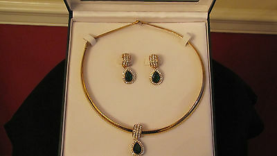 Avon Treasures You D.H. McConnell Set of Jewelry - NIB Gold, Green, Rhinestones!