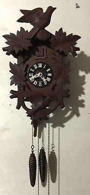Vintage Black Forest Hand Carved 30 Hour Cuckoo Clock 1950's Germany Working!