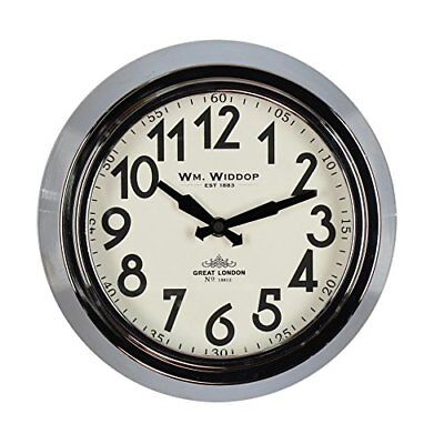 Wm Widdop Round Metal Case Wall Clock Chrome Finish 25.5cm Classic Look for or