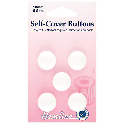 HEMLINE SELF COVER BUTTONS 18mm 5 PACK NO TOOL REQUIRED EASY TO FIT CRAFT bnew