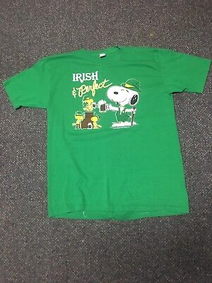 Vtg 80's Artex Irish & Perfect SNOOPY Green Soft 50/50 T Shirt Sz L