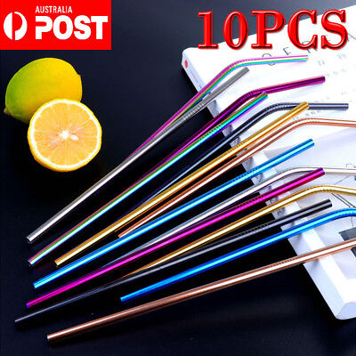 4/10X Stainless Steel Metal Drinking Straw Straws Bent Reusable Washable+Brushes