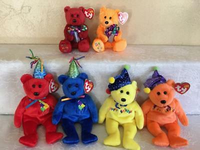 Ty Lot 6 Beanie Baby Happy Birthday 3 Sets Bear Pairs Holding Present Jester Hat